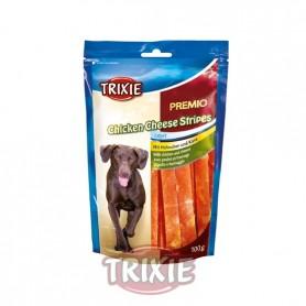 Premio en Tiras de Pollo y Queso, 100 g, Snacks para perros, golosinas suaves