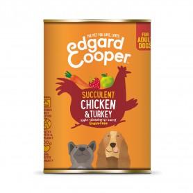 comida húmeda Edgard & Cooper, latas sin cereales con pollo y pavo para perros adultos
