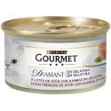 Purina Gourmet Diamant Láminas de Atún en Gelatina con Gambas.